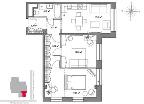 МФК «Monodom», планировка 3-комнатной квартиры, 67.30 м²