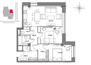 МФК «Monodom», планировка 3-комнатной квартиры, 71.90 м²
