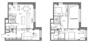 МФК «Monodom», планировка 2-комнатной квартиры, 70.80 м²