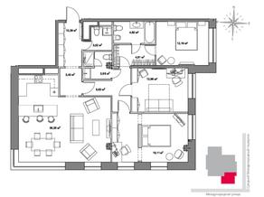 МФК «Monodom», планировка 3-комнатной квартиры, 122.60 м²