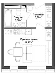 ЖК «Селигер Сити», планировка студии, 26.94 м²