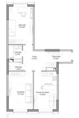 ЖК «Селигер Сити», планировка 2-комнатной квартиры, 69.26 м²
