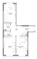 ЖК «Селигер Сити», планировка 2-комнатной квартиры, 70.18 м²
