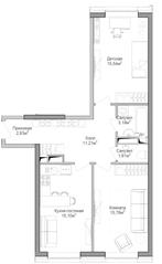 ЖК «Селигер Сити», планировка 2-комнатной квартиры, 66.25 м²