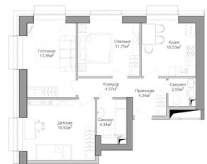 ЖК «Селигер Сити», планировка 3-комнатной квартиры, 67.00 м²