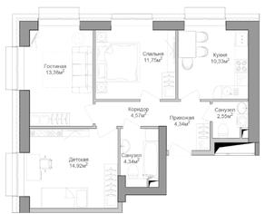 ЖК «Селигер Сити», планировка 3-комнатной квартиры, 65.98 м²