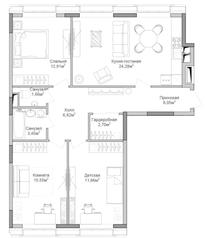 ЖК «Селигер Сити», планировка 3-комнатной квартиры, 6794.93 м²