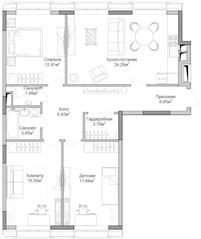 ЖК «Селигер Сити», планировка 3-комнатной квартиры, 94.86 м²