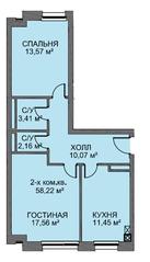 МЖК «Голландский квартал», планировка 2-комнатной квартиры, 58.60 м²