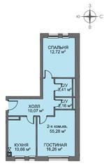 МЖК «Голландский квартал», планировка 2-комнатной квартиры, 55.40 м²