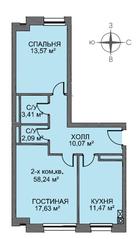 МЖК «Голландский квартал», планировка 2-комнатной квартиры, 58.40 м²