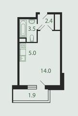 Квартал «Новые Котельники», планировка студии, 26.80 м²