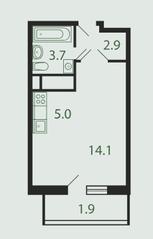Квартал «Новые Котельники», планировка студии, 27.30 м²