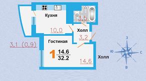 ЖК «Город Счастья», планировка квартиры со свободной планировкой, 32.20 м²