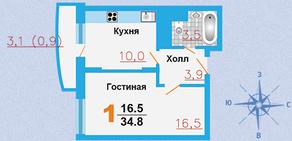 ЖК «Город Счастья», планировка квартиры со свободной планировкой, 34.80 м²
