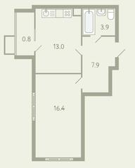 ЖК «Ново-Молоково», планировка 1-комнатной квартиры, 42.60 м²