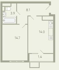ЖК «Ново-Молоково», планировка 1-комнатной квартиры, 42.70 м²