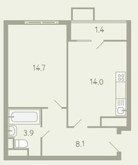 ЖК «Ново-Молоково», планировка 1-комнатной квартиры, 42.80 м²