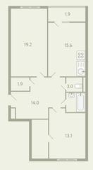 ЖК «Ново-Молоково», планировка 2-комнатной квартиры, 75.30 м²