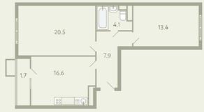 ЖК «Ново-Молоково», планировка 2-комнатной квартиры, 64.80 м²