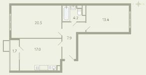 ЖК «Ново-Молоково», планировка 2-комнатной квартиры, 65.50 м²