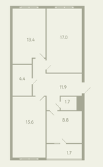 ЖК «Ново-Молоково», планировка 3-комнатной квартиры, 75.10 м²