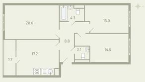 ЖК «Ново-Молоково», планировка 3-комнатной квартиры, 82.20 м²