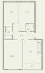 ЖК «Ново-Молоково», планировка 3-комнатной квартиры, 82.10 м²