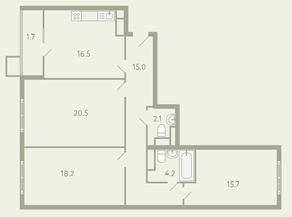 ЖК «Ново-Молоково», планировка 3-комнатной квартиры, 95.70 м²
