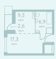 ЖК «City Park», планировка 1-комнатной квартиры, 33.70 м²