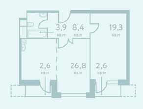 ЖК «City Park», планировка 1-комнатной квартиры, 58.40 м²
