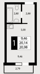 ЖК «Отрада», планировка студии, 20.98 м²