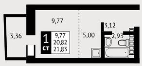 ЖК «Отрада», планировка студии, 21.83 м²
