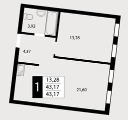 ЖК «Отрада», планировка 1-комнатной квартиры, 43.17 м²