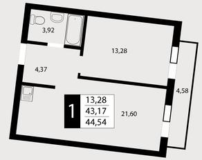 ЖК «Отрада», планировка 1-комнатной квартиры, 44.54 м²