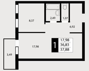 ЖК «Отрада», планировка 1-комнатной квартиры, 37.88 м²