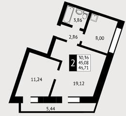 ЖК «Отрада», планировка 2-комнатной квартиры, 46.71 м²