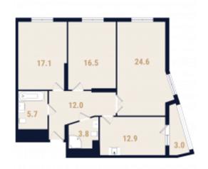 ЖК «Фестиваль Парк», планировка 3-комнатной квартиры, 74.40 м²