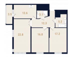 ЖК «Фестиваль Парк», планировка 3-комнатной квартиры, 91.80 м²