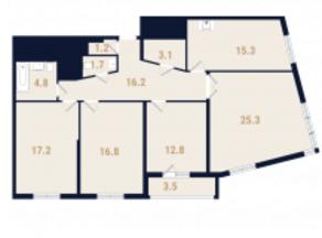 ЖК «Фестиваль Парк», планировка 4-комнатной квартиры, 118.30 м²