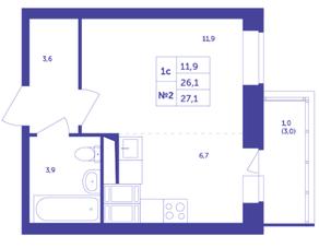 ЖК «Большое Путилково», планировка студии, 27.10 м²