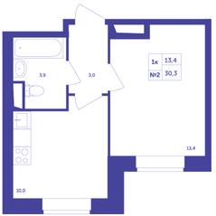 ЖК «Большое Путилково», планировка 1-комнатной квартиры, 30.30 м²
