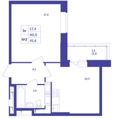 ЖК «Большое Путилково», планировка студии, 41.60 м²