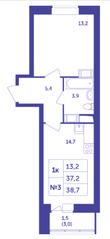 ЖК «Большое Путилково», планировка 1-комнатной квартиры, 38.70 м²