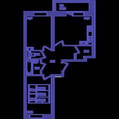 ЖК «Большое Путилково», планировка 2-комнатной квартиры, 58.50 м²