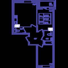 ЖК «Большое Путилково», планировка 2-комнатной квартиры, 62.10 м²