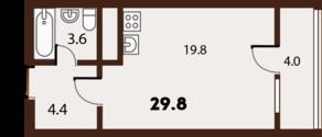 ЖК «FoRest», планировка студии, 29.80 м²