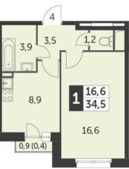 ЖК «Настроение», планировка 1-комнатной квартиры, 34.50 м²