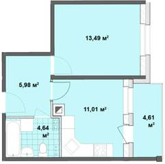МЖК «Вахрушева», планировка 1-комнатной квартиры, 35.12 м²