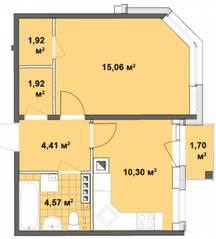 МЖК «Вахрушева», планировка 1-комнатной квартиры, 38.18 м²
